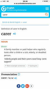 definition of the word 'carer.