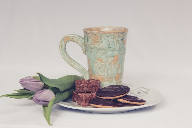 mug, biscuit and flower image