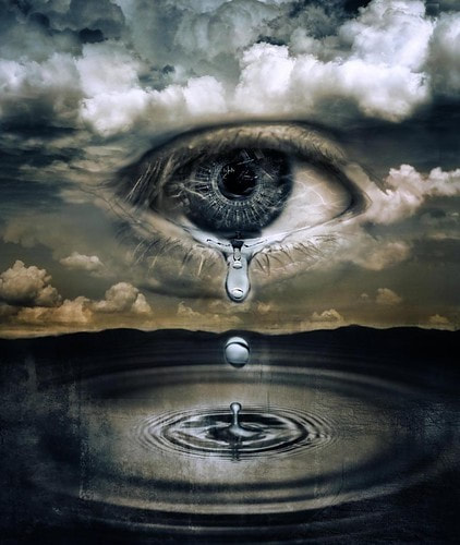 Eye (in cloud) crying into a river